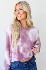 Blush - Cropped Tie-Dye Pullover