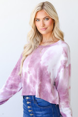 Cropped Tie-Dye Pullover Side View