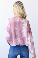 Cropped Tie-Dye Pullover Back View