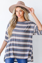 Charcoal - Model wearing an Oversized Striped Tee