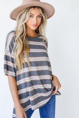 Charcoal - Dress Up model wearing an Oversized Striped Tee