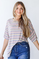 Oversized Striped Tee in Taupe Front View