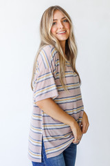 Oversized Striped Tee in Taupe Side View