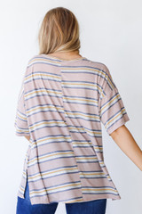 Oversized Striped Tee in Taupe Back View