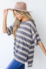 Oversized Striped Tee in Charcoal Side View