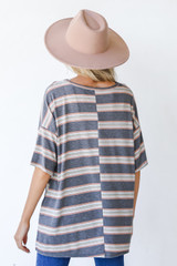 Oversized Striped Tee in Charcoal Back View