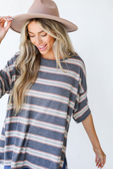 Oversized Striped Tee in Charcoal Front View