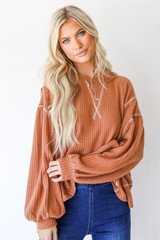 Rust - Waffle Knit Top