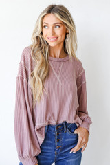 Lavender - Waffle Knit Top Front View