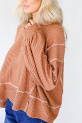 Waffle Knit Top in Rust Side View
