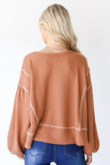 Waffle Knit Top in Rust Back View