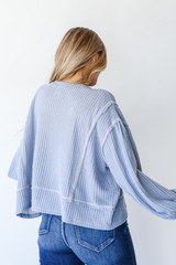 Waffle Knit Top in Blue Back View