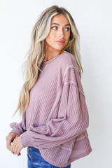 Waffle Knit Top in Lavender Side View