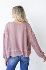 Waffle Knit Top in Lavender Back View
