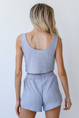 Knit Shorts in Blue Back View
