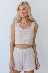 Knit Shorts in Blush Front View