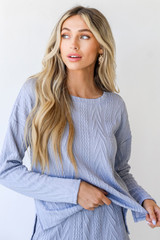 Knit Pullover in Blue Front View