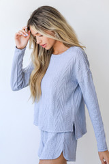 Knit Pullover in Blue Side View