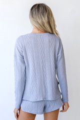 Knit Pullover in Blue Back View