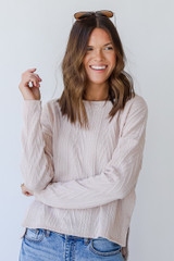 Knit Pullover in Blush Front View