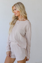 Knit Pullover in Blush Side View