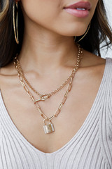 Gold - Lock Layered Necklace