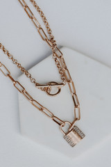 Gold - Lock Layered Necklace from Dress Up