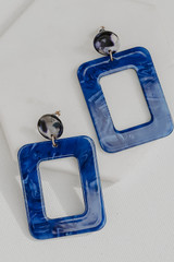 Blue - Acrylic Statement Earrings from Dress Up