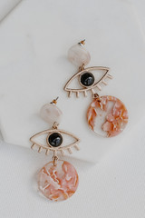 Blush - Close Up of Evil Eye Statement Earrings