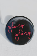 Black - Large Glory Glory Script Button Front View