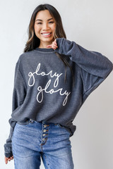 Model wearing the Glory Glory Corded Pullover