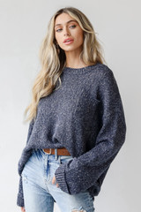 Navy - Oversized Sweater Front View on model