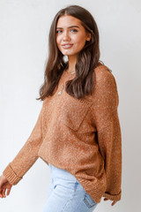 Oversized Sweater in Camel Side View
