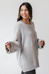 Oversized Sweater in Heather Grey Side View