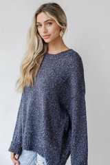 Oversized Sweater in Navy Side View