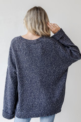 Oversized Sweater in Navy Back View