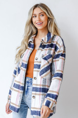 Pink - Model wearing a Plaid Shacket