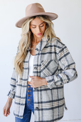Grey - Plaid Shacket Front View on model