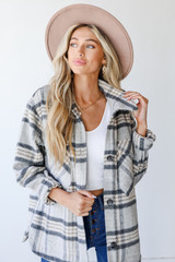 Grey - Plaid Shacket Front View