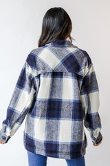 Plaid Shacket in Navy Back View