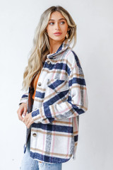 Plaid Shacket in Pink Side View