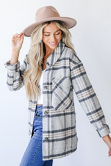 Plaid Shacket in Grey Side View