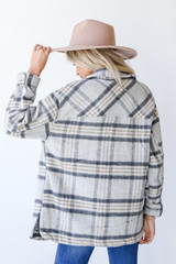 Plaid Shacket in Grey Back View
