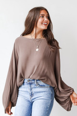 Olive - Model wearing an Oversized Blouse