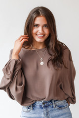 Olive - Dress Up model wearing an Oversized Blouse