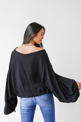Oversized Blouse in Black Back View
