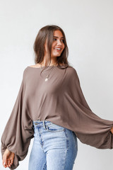 Oversized Blouse in Olive Side View