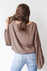 Oversized Blouse in Olive Back View