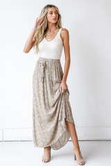 Model wearing a Floral Maxi Skirt