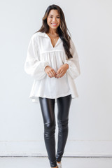 White - Linen Babydoll Blouse from Dress Up